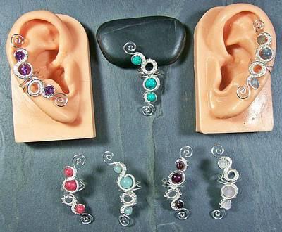 Ear Cuff Jewelry - Woven Gemstone Ear Cuff by Heather Jordan