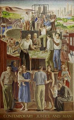 Social Realism Photograph - Wpa Mural. Contemporary Justice And Man by Everett
