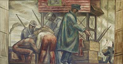 Social Realism Photograph - Wpa Mural. Fresco Painting By Henry by Everett