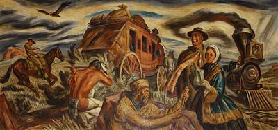 Social Realism Photograph - Wpa Mural. Pioneers In Kansas By Ward by Everett