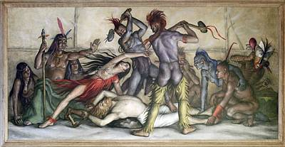 Social Realism Photograph - Wpa Mural. Pocahontas Saving The Life by Everett