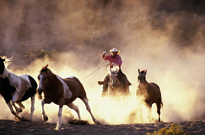 Working Cowboy Photograph - Wranglers Rounding Up Horses In Bend, Oregon by David W. Hamilton