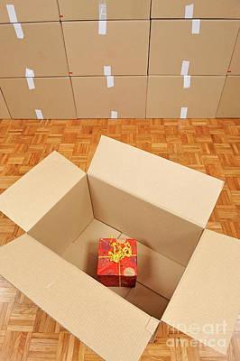 Wrapped Gift Box Inside Cardboard Box Art Print by Sami Sarkis