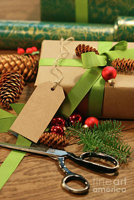 Gift Tag Photograph - Wrapping Gifts For The Holidays by Sandra Cunningham
