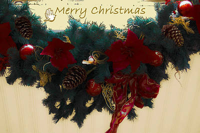 Pine Needles Photograph - Wreath Garland Greeting by DigiArt Diaries by Vicky B Fuller