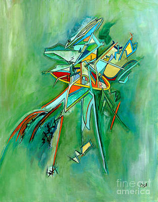 Painting - Contemporary Green Colorful Plane Abstract Composition by Marie Christine Belkadi