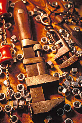 Hand-built Photograph - Wrench Tools And Nuts by Garry Gay