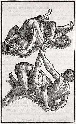 Wrestling Moves, 16th Century Artwork Art Print by Middle Temple Library