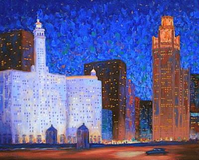 Wrigley Building And Tribune Tower Original by J Loren Reedy
