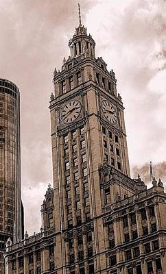 Photograph - Wrigley Clock Tower by Linda Edgecomb