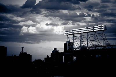 Photograph - Wrigley Field Light Stand In Black And White by Anthony Doudt