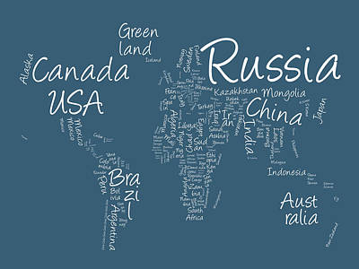 Writing Text Map Of The World Map Art Print by Michael Tompsett