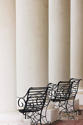 Wrought Iron Chairs And Columns Art Print by Jeremy Woodhouse