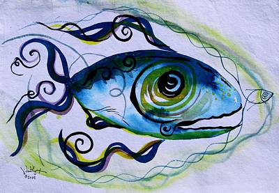 Ink Painting - Wtfish 009 by J Vincent Scarpace
