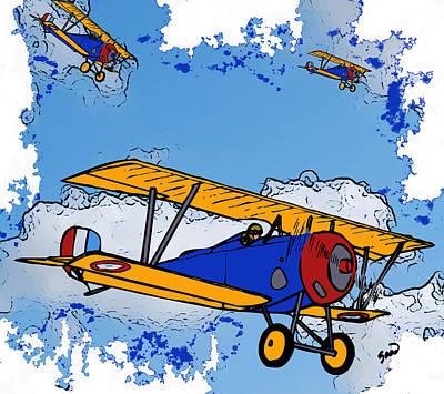 Bi Plane Digital Art - Wwi Bi-planes by Yiries Saad