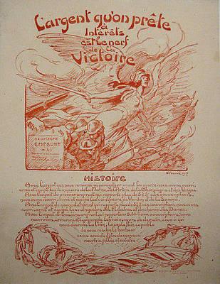 Wwi Vintage French Poster Largent Quon Prete 1917 Original