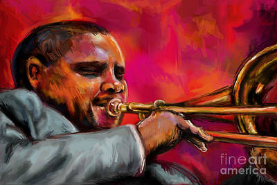Trombone Mixed Media - Wycliffe Gordon by Lakota Phillips