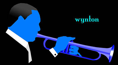 Bebop Digital Art - Wynton Marsalis Blue by Victor Bailey