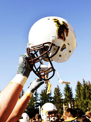 Sports Framed Photograph - Wyoming Helmet by Univesity of Wyoming