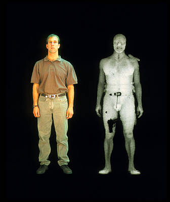 X-ray View Of Man During Bodysearch Surveillance Art Print by American Science & Engineering
