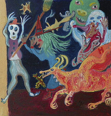 Painting - Y Is For Yikes It's Halloween Detail From Childhood Quilt Painting by Dawn Senior-Trask