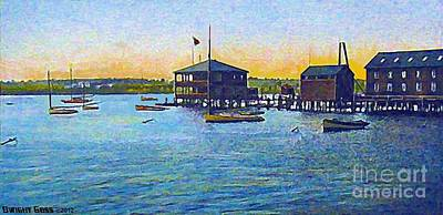 Painting - Yacht Club In Fall River Ma 1910 by Dwight Goss