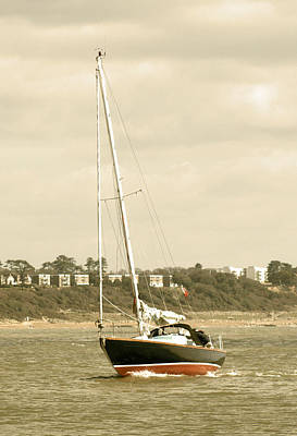 Photograph - Yacht Entering Christchurch Harbour by Chris Day