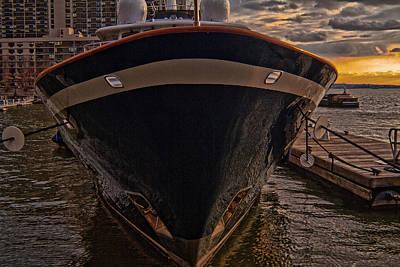 Yacht On The Sunset Art Print by Alex AG