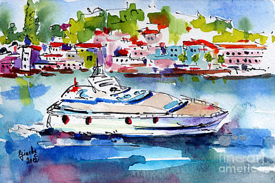Yachting Off The Coast Of Amalfi Italy Watercolor Art Print by Ginette Callaway