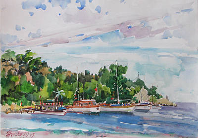 Painting - Yachts Kemer by Juliya Zhukova
