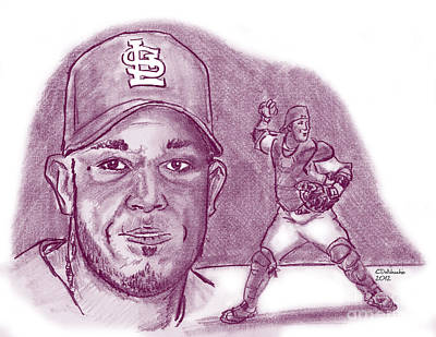 Drawing - Yadier Molina by Chris  DelVecchio