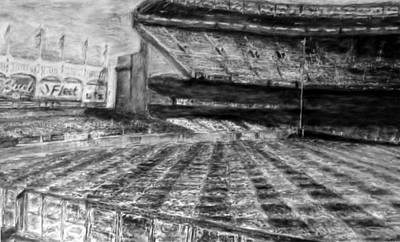 Babe Ruth Drawing - Yankee Stadium by Chris Ripley
