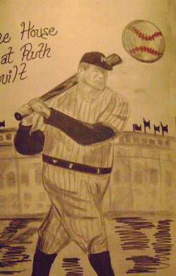 Babe Ruth Drawing - Yankees by Paul Rapa