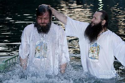 Baptising Photograph - Yardenit Baptismal Site by Amos Gal