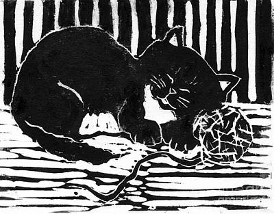 Lino Mixed Media - Yarn Cat  Block Print by Ellen Miffitt