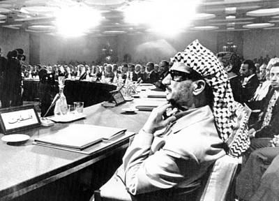 Yasser Arafat Attends The Opening Art Print