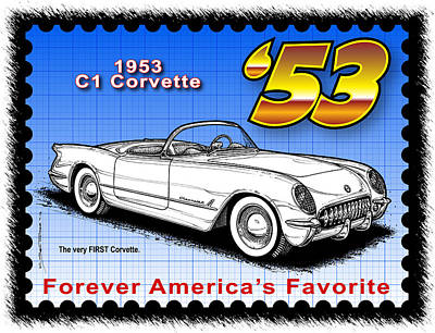 Drawing - year-By-Year 1953 Corvette by K Scott Teeters