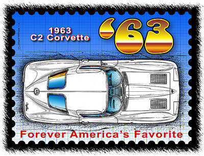 Drawing - Year-by-year 1963 Corvette by K Scott Teeters