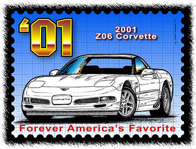 Drawing - Year-by-year 2001 Z06 Corvette by K Scott Teeters