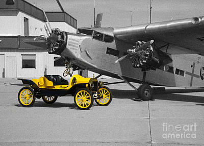 Ford Tri-motor Photograph - yellow and Black and White by Michael Flood