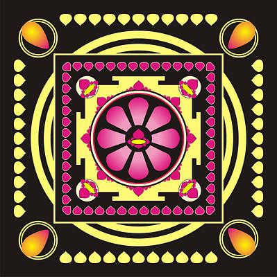 Balck Art Digital Art - Yellow And Pink Mandala by Steeve Dubois