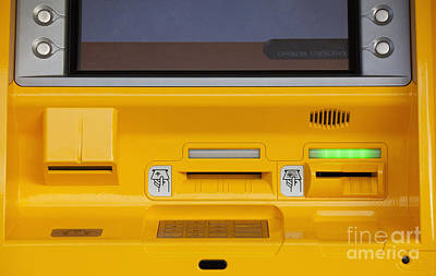 Atm Machine Photograph - Yellow Atm by Don Mason