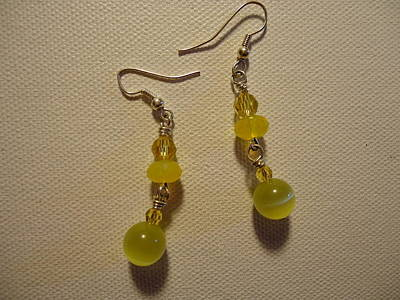 Wire Photograph - Yellow Ball Drop Earrings by Jenna Green
