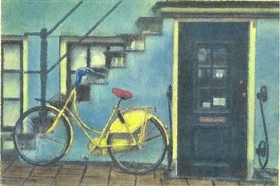 Pastel - Yellow Bike by John Brisson