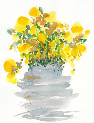 Drawing - Yellow Blossoms by Darlene Flood