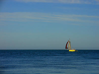Yellow Boat On The Horizon Art Print