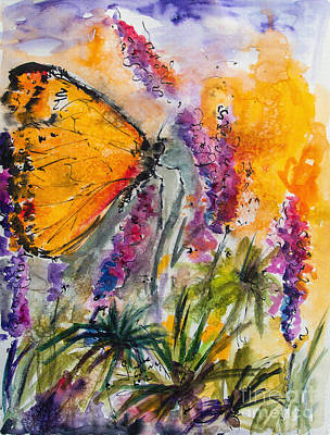Yellow Butterfly On Lupines Art Print