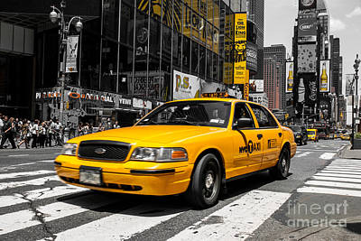 Yellow Cab At The  Times Square Art Print by Hannes Cmarits