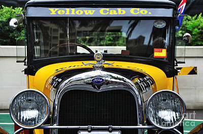 Vintage Taxi Cabs Photograph - Yellow Cab Co. - Vintage Ford by Kaye Menner