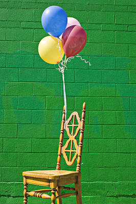 Yellow Cahir With Balloons Art Print by Garry Gay